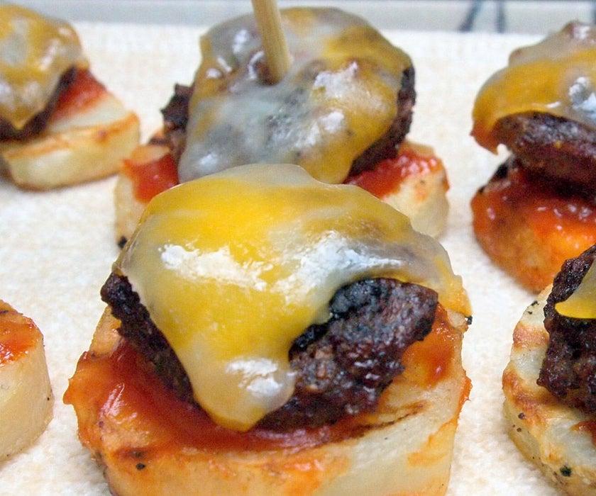 Burgers on potato slices