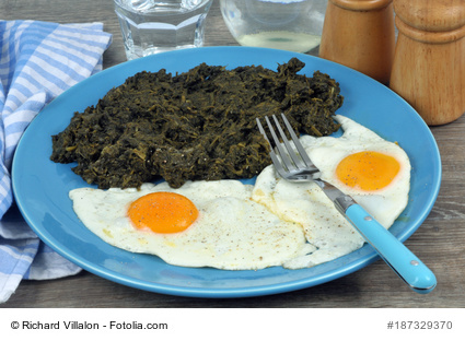 Greens and fried eggs