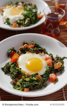 eggs, greens, tomatoes