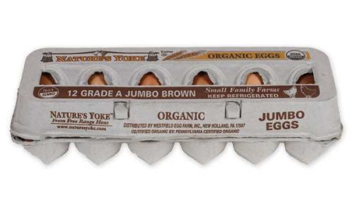 Organic Jumbo Brown Eggs, 1 Dozen Pulp Carton
