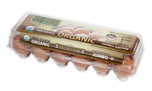 Organic Jumbo Brown Eggs, 1 Dozen Plastic Carton Right Angle