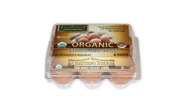Organic Jumbo Brown Eggs, Half Dozen Plastic Carton