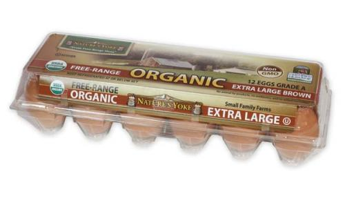 Organic Extra Large Brown Eggs, 1 Dozen Plastic Carton Right Angle