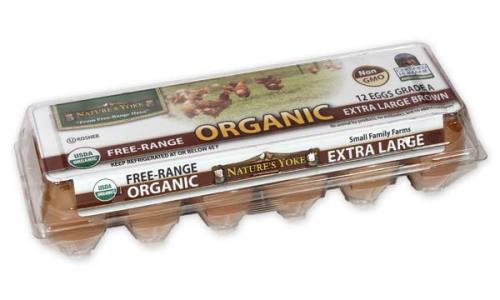 Organic Extra Large Brown Eggs, 1 Dozen Plastic Carton Angle 1