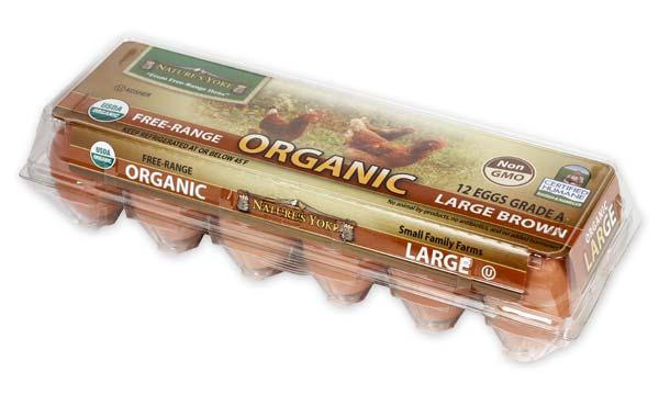 Organic Large Brown Eggs, 1 Dozen Plastic Carton Right Angle
