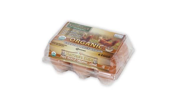 Organic Large Brown Eggs, Half Dozen Plastic Carton Right Angle