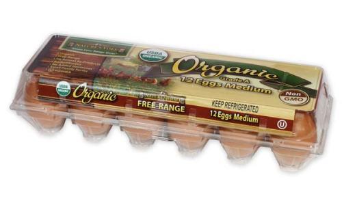 Organic Medium Brown Eggs, 1 Dozen Plastic Carton Right Angle