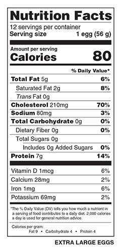1 Dozen Extra Large Eggs Nutrition Facts