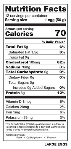 1 Dozen Large Eggs Nutrition Facts