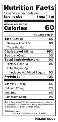 1 Dozen Medium Eggs Nutrition Facts