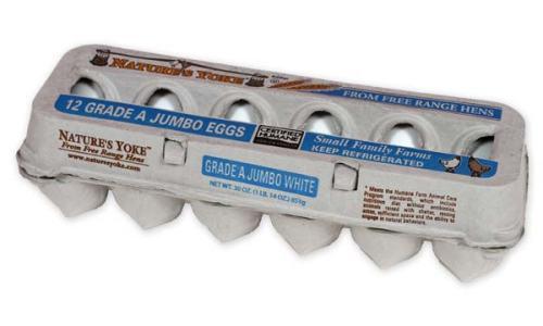Free-Range Jumbo White Eggs, 1 Dozen Pulp Carton
