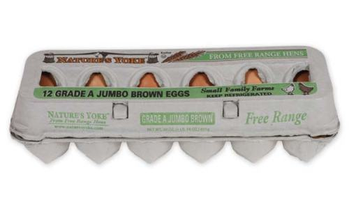 Free-Range Jumbo Brown Eggs, 1 Dozen Pulp Carton