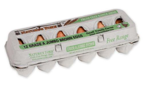 Free-Range Jumbo Brown Eggs, 1 Dozen Pulp Carton Left Angle