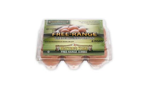Free-Range Jumbo Brown Eggs, Half Dozen Plastic Carton
