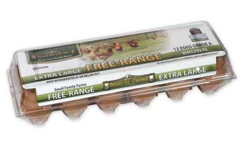 Free-Range Extra Large Brown Eggs, 1 Dozen Plastic Carton Angle 1