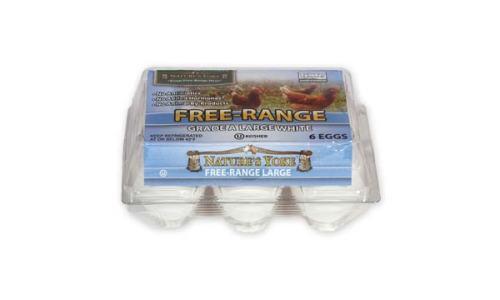Free-Range Large White Eggs, Half Dozen Plastic Carton