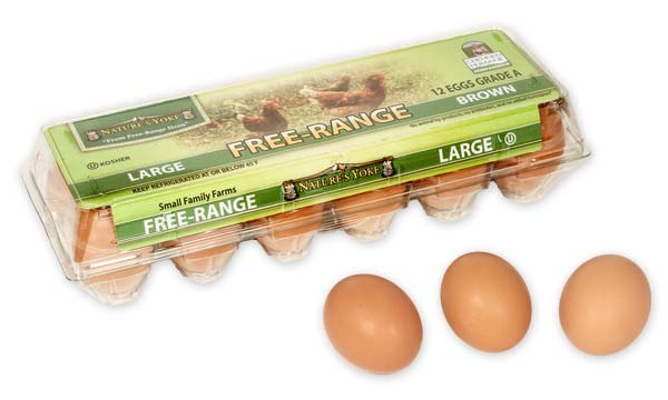 Free-Range Large Brown Eggs, 1 Dozen Plastic Carton
