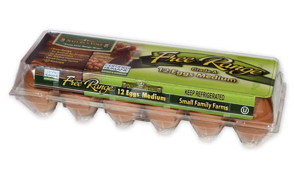 Free-Range Medium Brown Eggs, 1 Dozen Plastic Carton