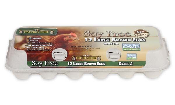 Soy Free Large Brown Eggs, 1 Dozen Pulp Carton