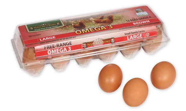 Omega 3 Large Brown Eggs, 1 Dozen Plastic Carton