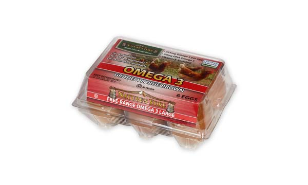 Omega 3 Large Brown Eggs, Half Dozen Plastic Carton