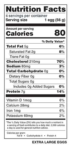 Half Dozen Extra Large Eggs Nutrition Facts
