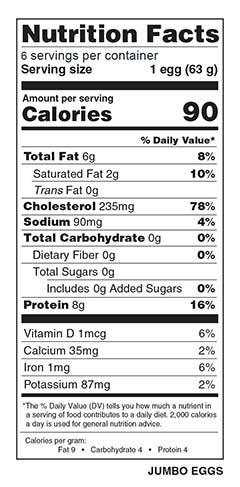 Half Dozen Jumbo Eggs Nutrition Facts