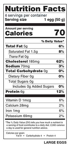 Half Dozen Large Eggs Nutrition Facts