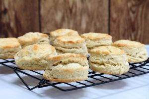 Buttermilk biscuits on a cooling rack