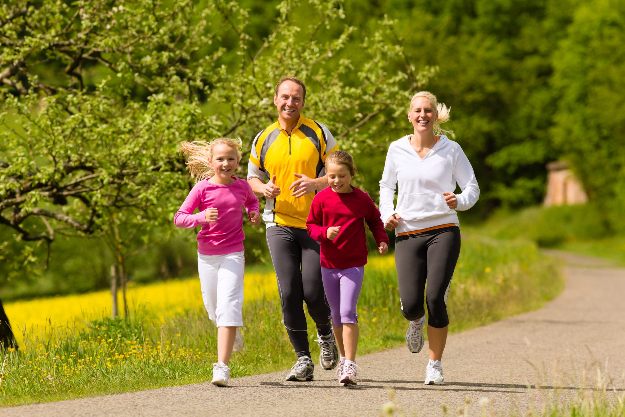 Healthy family exercising