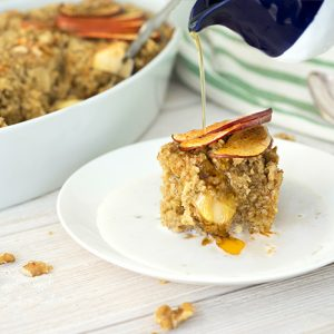 baked oatmeal drizzled with maple syrup